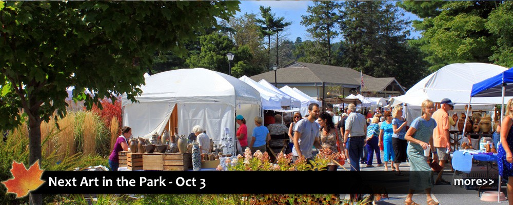 Art in the Park features 90 artists and craftspeople offering pottery, painting, photography, textiles, jewelry, sculpture, and more.