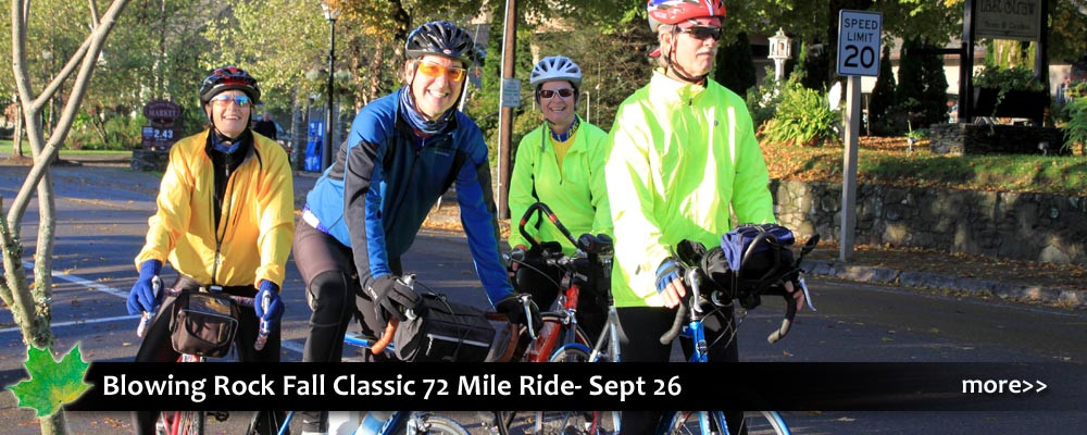 A 72 mile cycling event, part of a Triple Crown of bike rides along with Blood, Sweat & Gears and the Beech Mountain Metric. In Blowing Rock, near Boone, NC.
