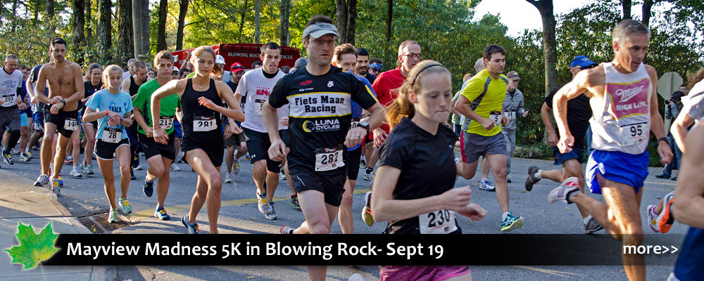 Fundraiser for Blue Ridge Conservancy, this 5K is on beautiful neighborhood roads with big views in Blowing Rock, NC.