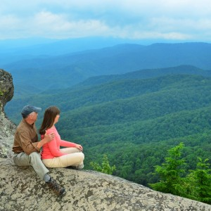 couple hiking on the blowing rock