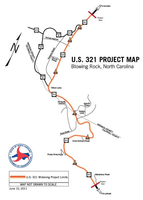 Hwy 421 Nc Map.Highway Construction In Blowing Rock Blowing Rock North Carolina
