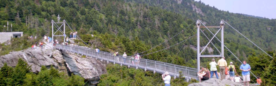 Mile high swinging bridge on Grandfather Mountain near Blowing Rock NC