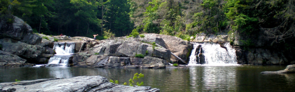 Upper Linville Falls on the Blue Ridge Parkway, substantial waterfall near Blowing Rock NC
