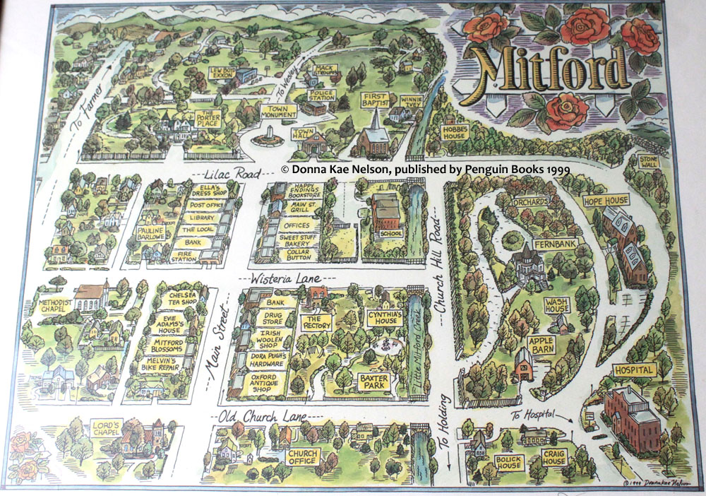 Map of Mitford used at Blowing Rock's Mitford Days event in 2007