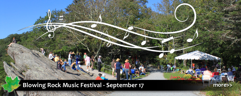 The Music Festival at the Blowing Rock Attraction has live country, blues, bluegrass, rock, and americana bands.
