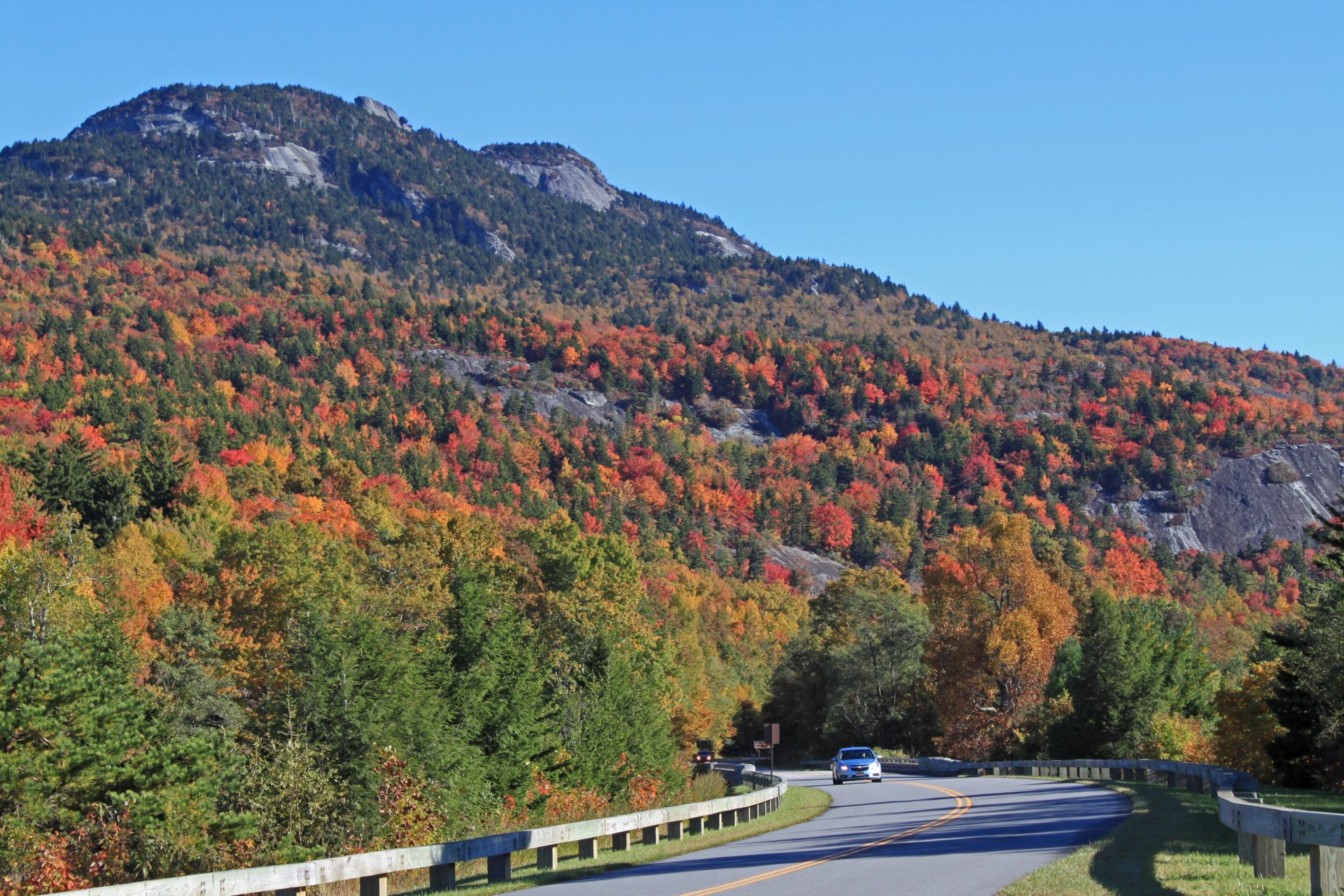 View of Grandfather Mountain in the fall