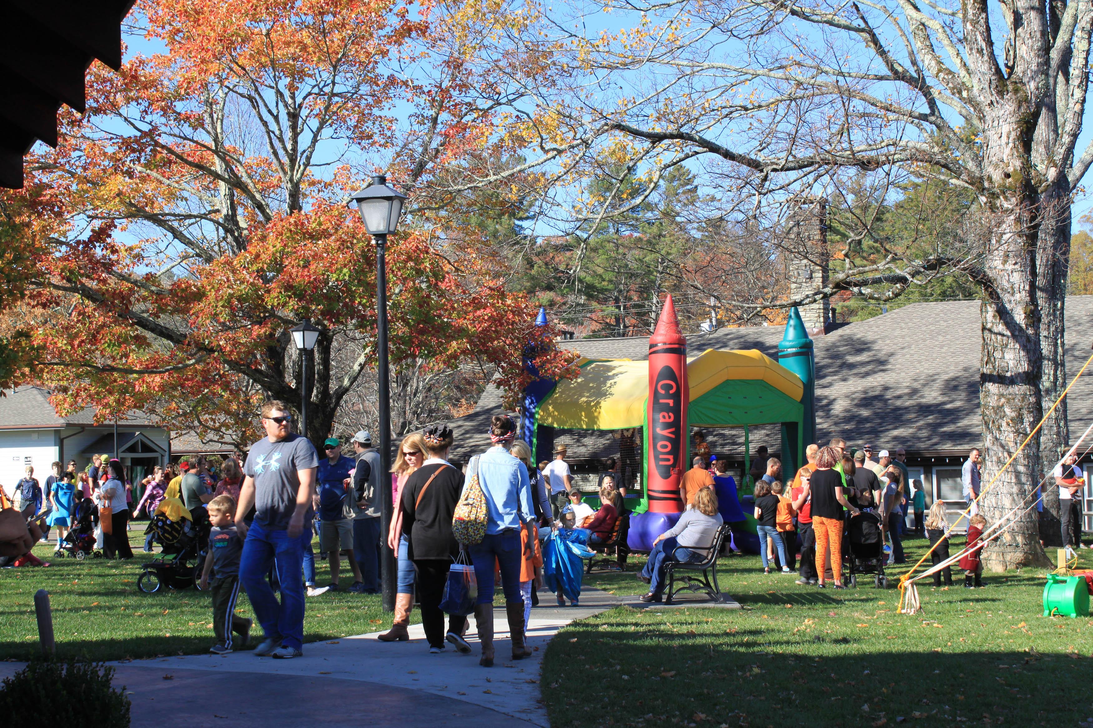 Halloween festival in Memorial Park in Blowing Rock NC