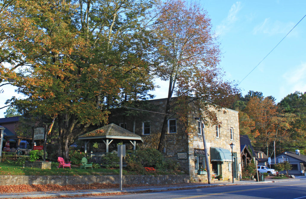 Piles on fall leaves on Main Street in Blowing Rock