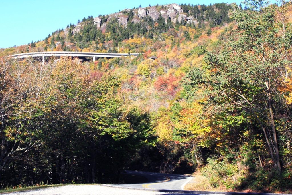 view of the viaduct from 221 near blowing rock nc