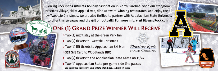 holiday giveaway with blowing rock, tweetsie railroad, green park inn, appalachian state university football, appalachian ski mountain, and woodlands barbecue.
