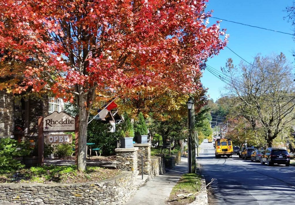 red maples on sunset drive in blowing rock