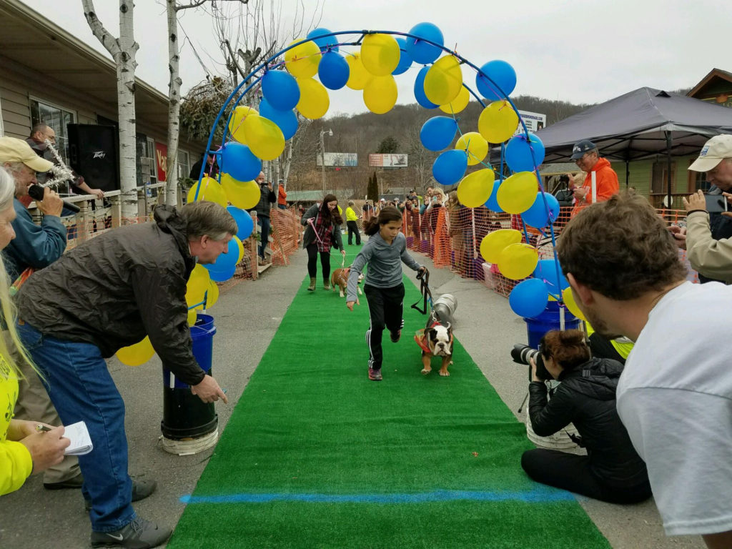 Kids and dogs at the K-9 Keg Pull