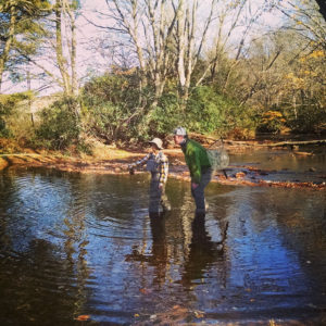 Fly fishing in a stream in Blowing Rock, NC