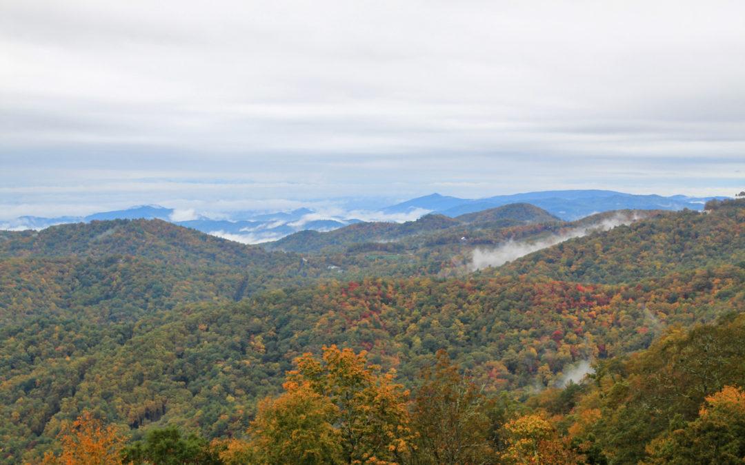 autumn view from yadkin vallley overlook near Blowing Rock