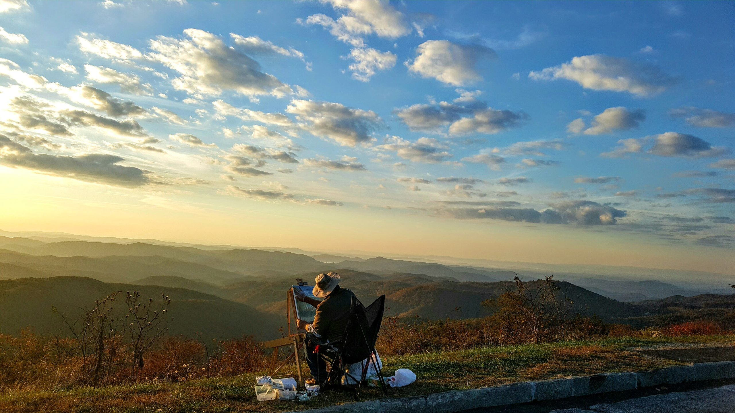 plein air painting on Blue Ridge Parkway in Blowing Rock