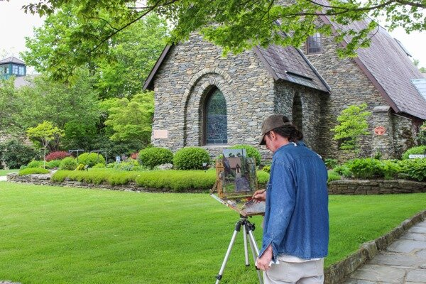 plein air painting downtown blowing rock