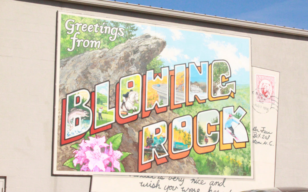blowing rock postcard mural