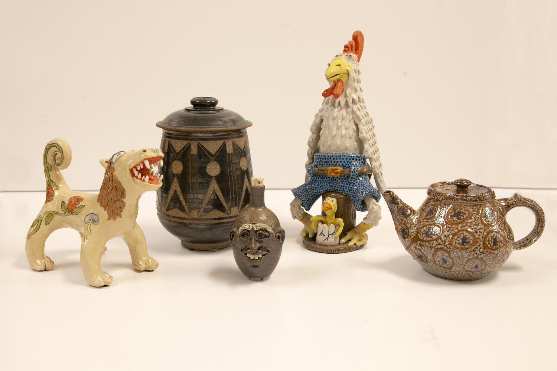 left to right: Stacey Lambert, Lion; Herb Cohen, Lidded Pot; Sandy Cole, Little Jug; Stacey Lambert, Chicken; Mark Hewitt, Lidded Teapot,