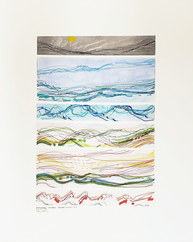 Abie Harris, Appalachian Concerto - Kruger Brothers #7, 2020, watercolor, acrylic, and marker on paper. Courtesy of the artist