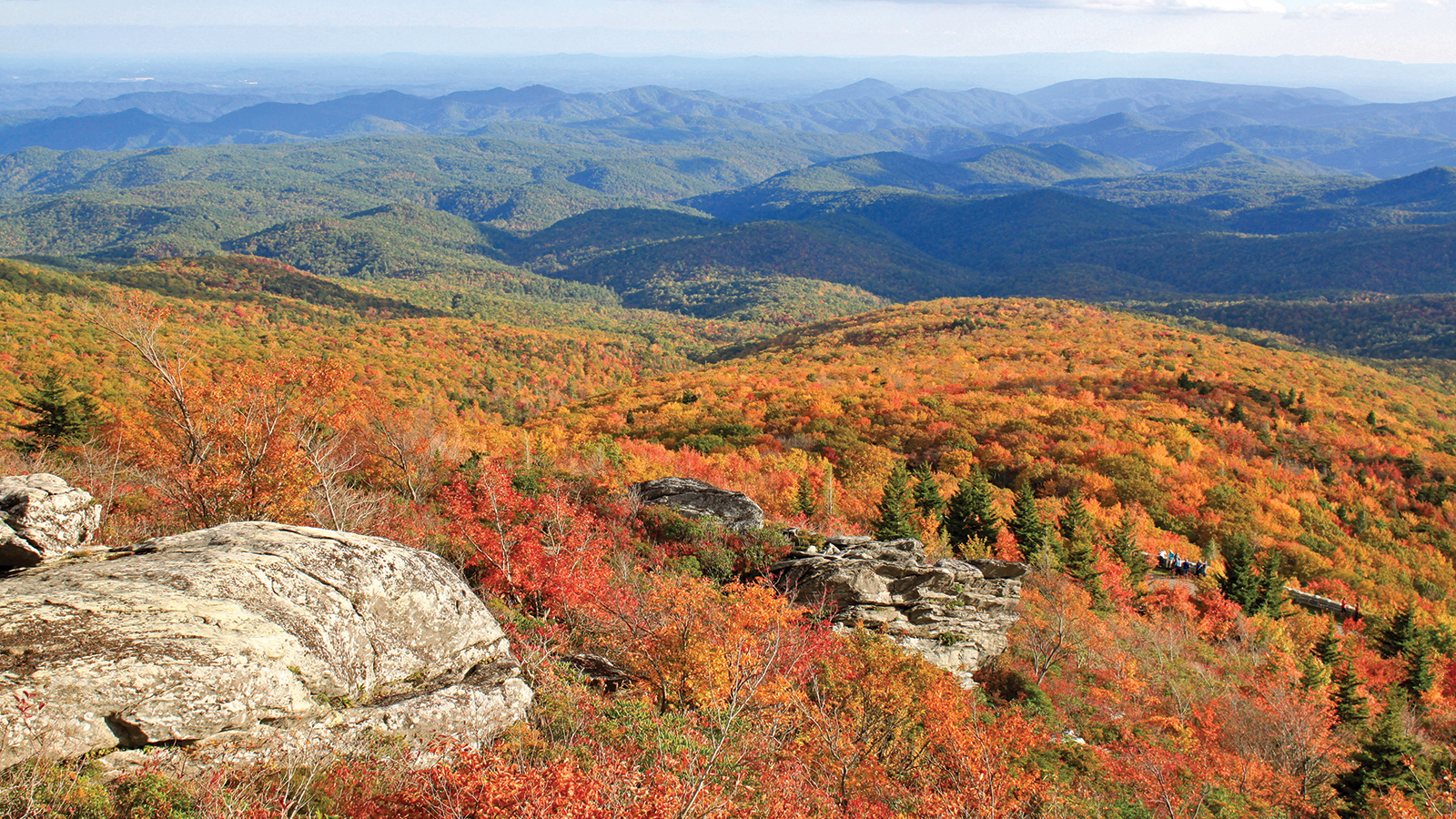 fall view of the raven rocks overlook on the blue ridge parkway